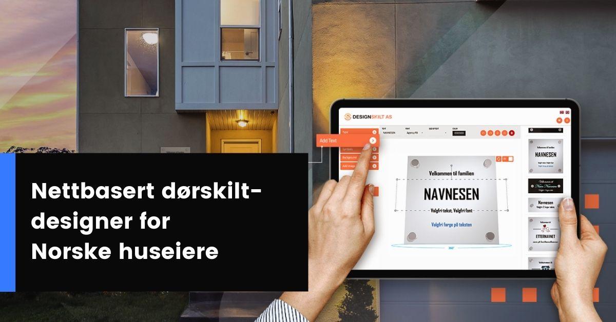 Nettbasert dørskilt-designer for Norske huseiere